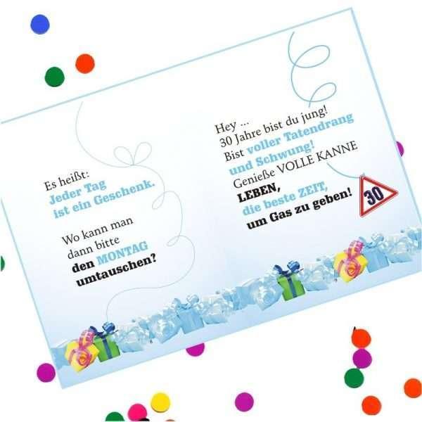 10528 Geldgeschenk zum 30. Geburtstag mit Umschlag für Geldscheine, Gutscheine als Geburtstagsgeschenk Musterseite