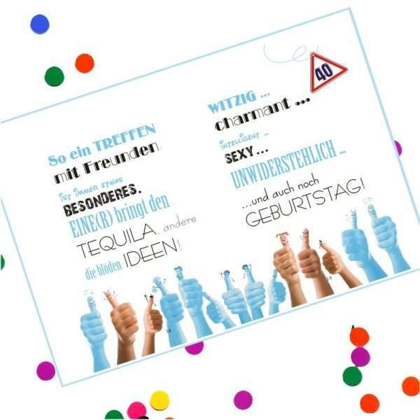 10529 Geldgeschenk zum 40. Geburtstag mit Umschlag für Geldscheine, Gutscheine als Geburtstagsgeschenk Musterseite