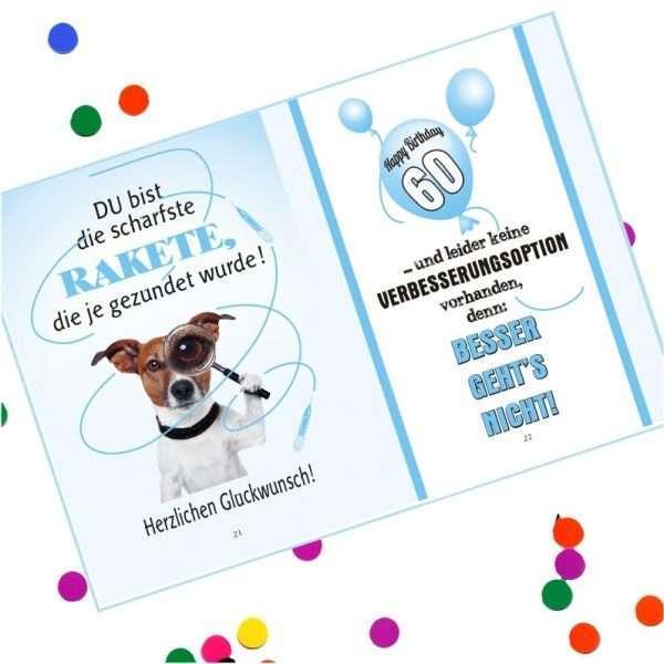10543 Geldgeschenk zum 60. Geburtstag mit Umschlag für Geldscheine, Gutscheine als Geburtstagsgeschenk Musterseite