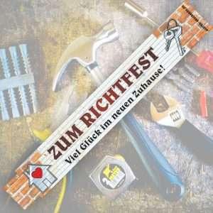 2 Meter Zollstock mit Aufschrift Spruch - Zum Richtfest - 2m Gliedermaßstab Geschenk für Männer Handwerker Heimwerker zum Einzug Umzug Einrichtungsgeschenke Geburtstag Holz