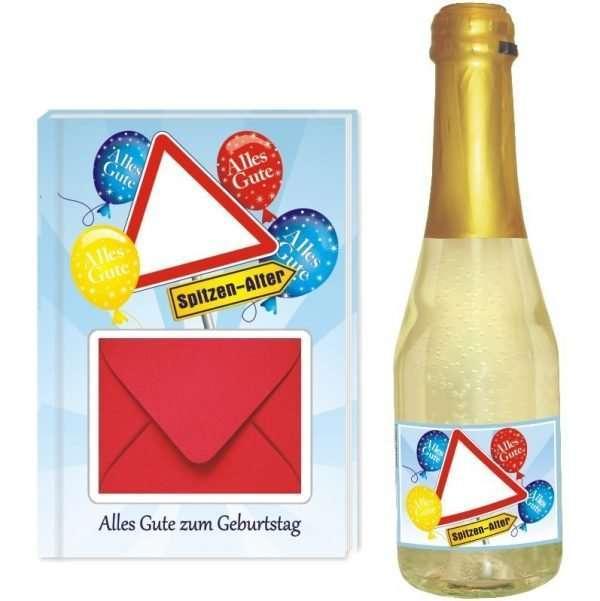 20132 Geldgeschenk zum Geburtstag Geschenkset mit Piccolo Beerenperlwein und Geldgeschenkbuch mit Umschlag für Geldscheine, Gutscheine als Geburtstagsgeschenk einzeln