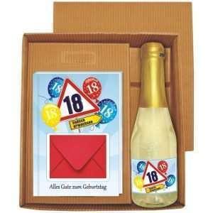 20133 Geldgeschenk zum 18 Geburtstag Geschenkset mit Piccolo Beerenperlwein und Geldgeschenkbuch mit Umschlag für Geldscheine, Gutscheine als Geburtstagsgeschenk