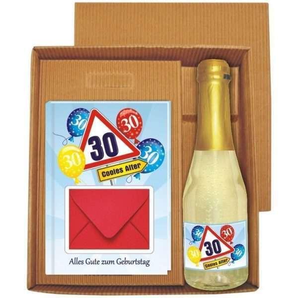 20134 Geldgeschenk zum 30 Geburtstag Geschenkset mit Piccolo Beerenperlwein und Geldgeschenkbuch mit Umschlag für Geldscheine, Gutscheine als Geburtstagsgeschenk