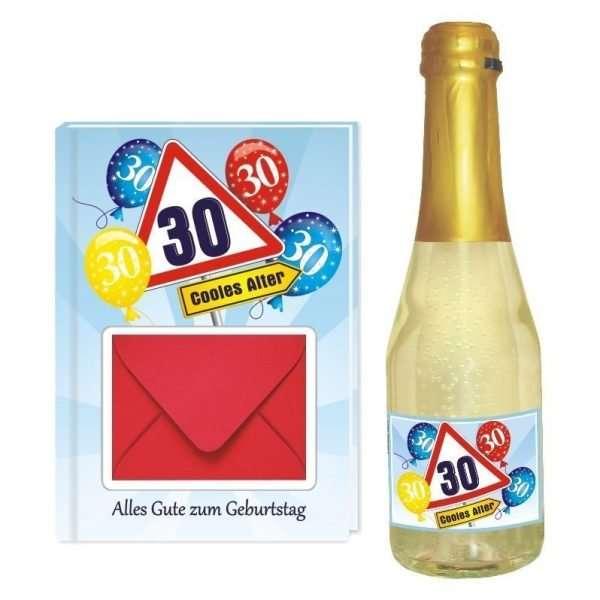 20134 Geldgeschenk zum 30 Geburtstag Geschenkset mit Piccolo Beerenperlwein und Geldgeschenkbuch mit Umschlag für Geldscheine, Gutscheine als Geburtstagsgeschenk einzeln