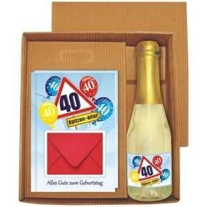 20135 Geldgeschenk zum 40 Geburtstag Geschenkset mit Piccolo Beerenperlwein und Geldgeschenkbuch mit Umschlag für Geldscheine, Gutscheine als Geburtstagsgeschenk