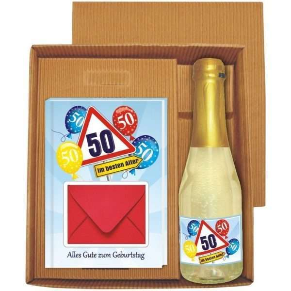 20136 Geldgeschenk zum 50 Geburtstag Geschenkset mit Piccolo Beerenperlwein und Geldgeschenkbuch mit Umschlag für Geldscheine, Gutscheine als Geburtstagsgeschenk