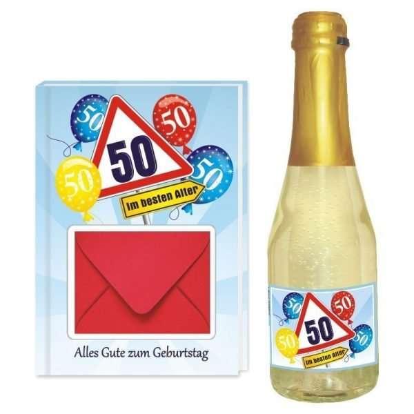 20136 Geldgeschenk zum 50 Geburtstag Geschenkset mit Piccolo Beerenperlwein und Geldgeschenkbuch mit Umschlag für Geldscheine, Gutscheine als Geburtstagsgeschenk einzeln