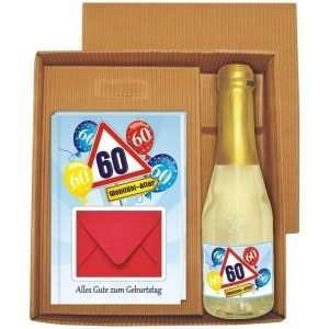 20137 Geldgeschenk zum 60 Geburtstag Geschenkset mit Piccolo Beerenperlwein und Geldgeschenkbuch mit Umschlag für Geldscheine, Gutscheine als Geburtstagsgeschenk