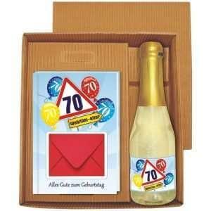 20138 Geldgeschenk zum 70 Geburtstag Geschenkset mit Piccolo Beerenperlwein und Geldgeschenkbuch mit Umschlag für Geldscheine, Gutscheine als Geburtstagsgeschenk
