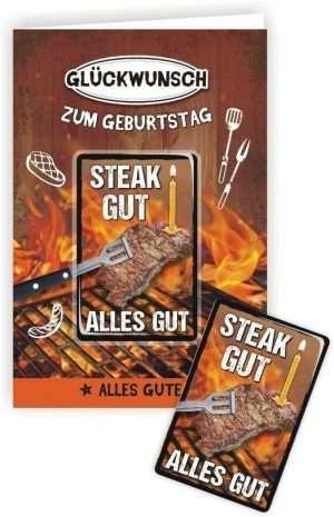 24004 Glückwunschkarte mit Magnet und Umschlag zum Geburtstag für Männer Steak Gut alles Gut