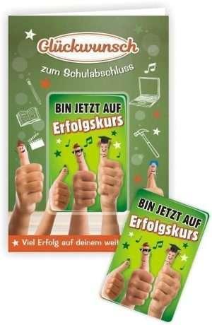 Glückwunschkarte mit Magnet und Umschlag zum Schulabschluss