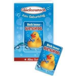 24009 Geburtstagskarte Ente Bleib Qutietschfidel Glückwunschkarte Grußkarte mit Magnet und Umschlag AV Andrea Verlag andrea-geschenke.de!