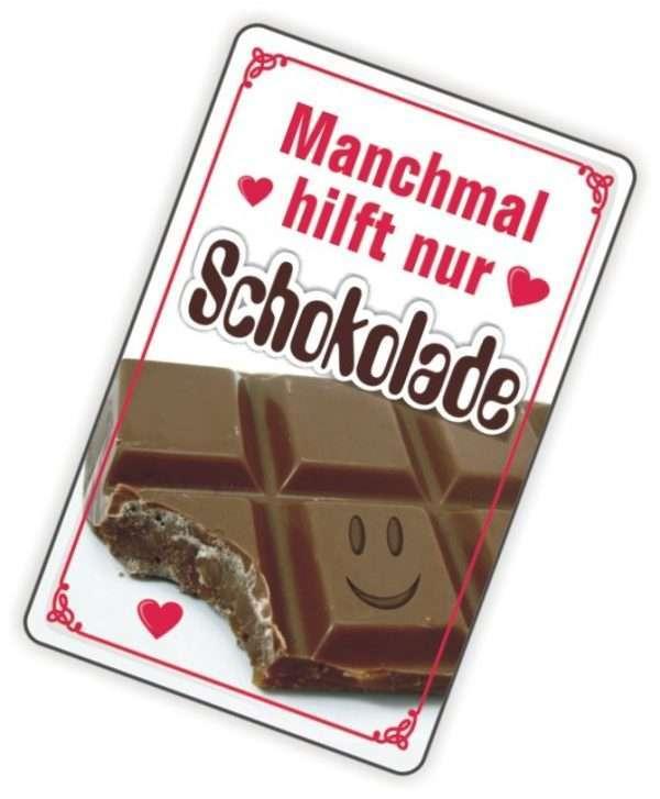 24013 Glückwunschkarte mit Magnet und Umschlag, Schokolade. Manchmal hilft nur Schokolade