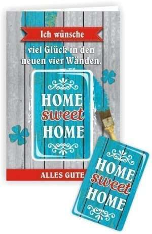 Glückwunschkarte mit Magnet mit Umschlag Home sweet Home