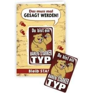 24038 Geburtstagskarte Du bist ein bärenstarker Typ Glückwunschkarte Grußkarte mit Magnet und Umschlag AV Andrea Verlag andrea-geschenke.de!