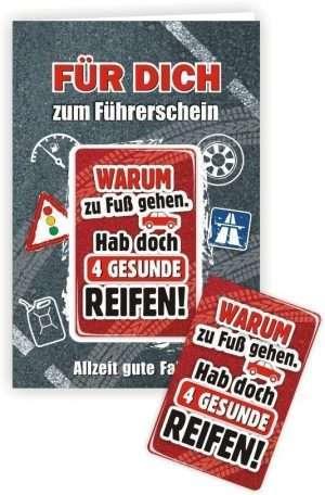 Die Glückwunschkarte zum Geburtstag mit Magnet und Umschlag Für Dich zum Führerschein