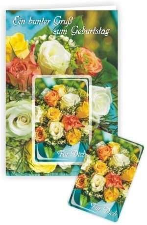 Die Glückwunschkarte zum Geburtstag mit Magnet und Umschlag zum Geburtstag Ein bunter Gruß
