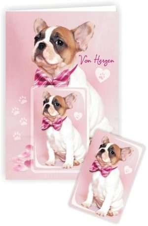 Die Glückwunschkarte zum Geburtstag mit Magnet und Umschlag Hund Von Herzen