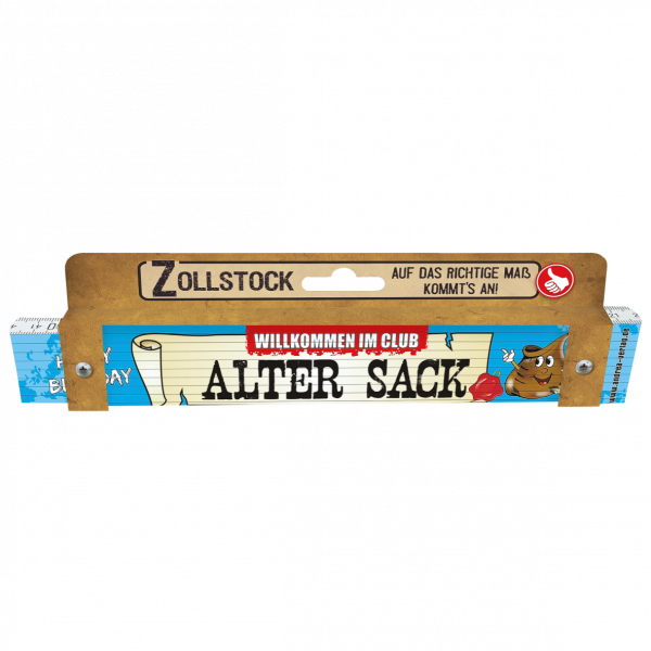 30004 Zollstock Happy Birthday Alter Sack Pappe AV Andrea Verlag andrea-geschenke.de!