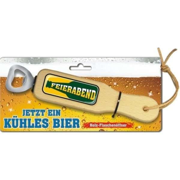 31837 Holz Flaschenöffner Feierabend Bier mit Lederband Lederriemen mit Pappe