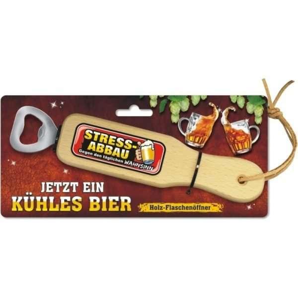 31839 Holz Flaschenöffner Stressabbau gegen den täglichen Wahnsinn mit Lederband Lederriemen mit Pappe