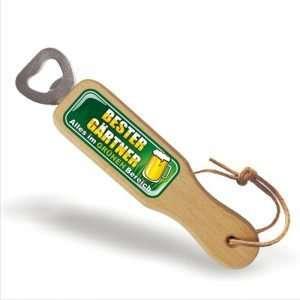 31844 Holz Flaschenöffner Bester Gärtner, alles im grünen Bereich mit Lederband Lederriemen