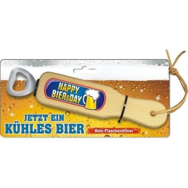 31845 Holz Flaschenöffner Happy Biersday zum Geburtstag mit Lederband Lederriemen mit Pappe