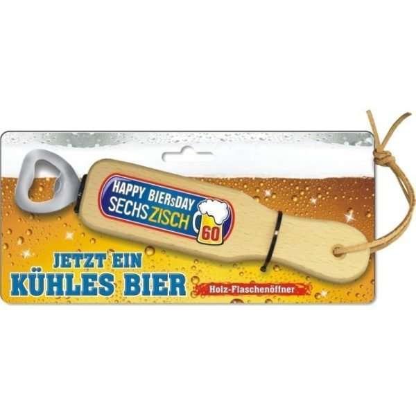 31850 Holz Flaschenöffner Happy Biersday zum 60. Geburtstag mit Lederband Lederriemen mit Pappe