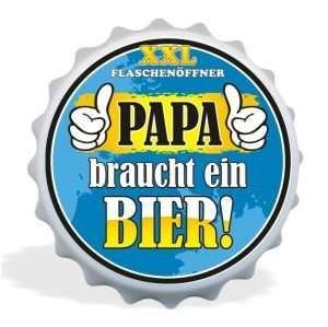 32040 XXL Flaschenöffner Papa braucht ein Bier Bester Papa, Kapselöffner AV Andrea Verlag, andrea-geschenke.de