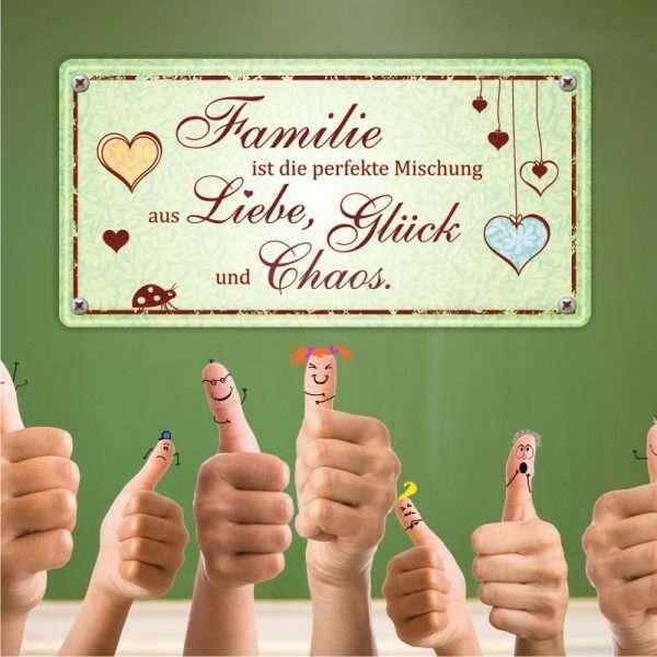 Familie ist die perfekte Mischung Metallschild 33549 Bild AV Andrea Verlag andrea-geschenke.de!