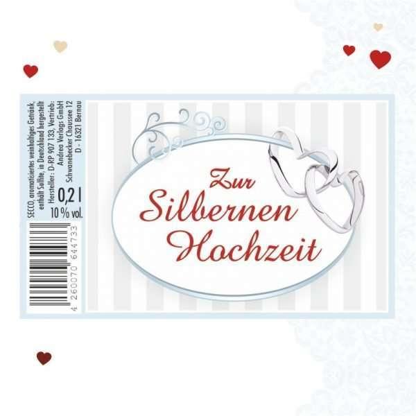 56023 Piccolo mit Blattgold Zur Silbernen Hochzeit Etikett AV Andrea Verlag andrea-geschenke.de!