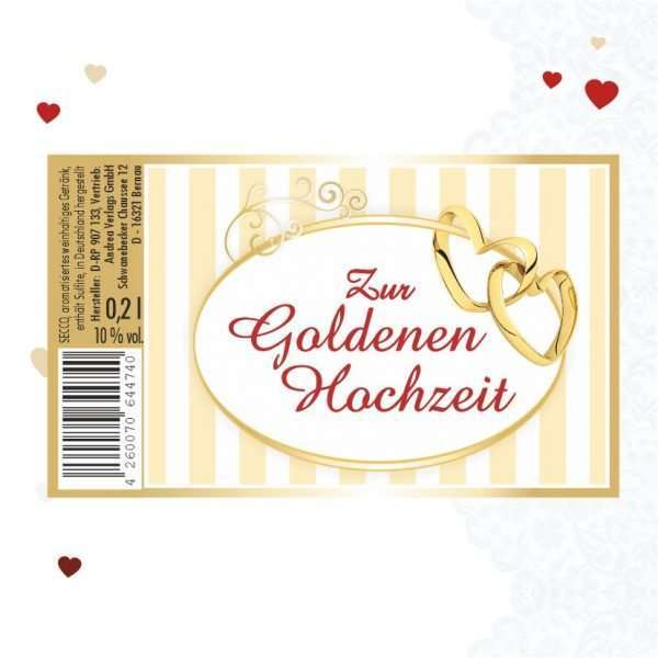 56024 Piccolo mit Blattgold Zur Goldenen Hochzeit Etikett AV Andrea Verlag andrea-geschenke.de!
