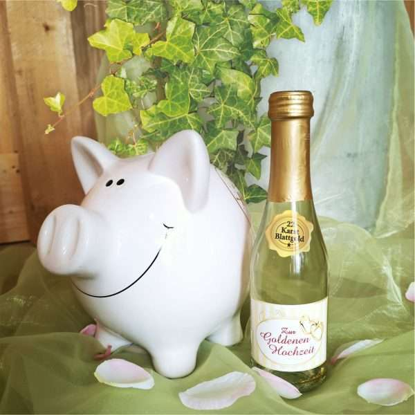 56024 Piccolo mit Blattgold Zur Goldenen Hochzeit Bild AV Andrea Verlag andrea-geschenke.de!