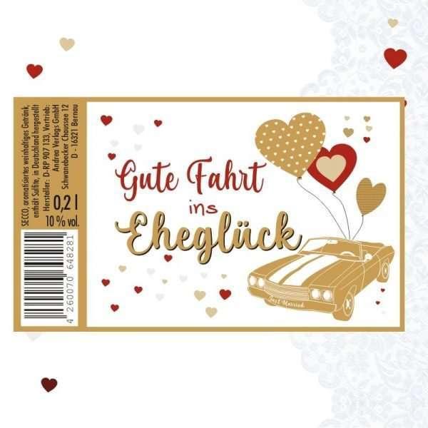 56043 Piccolo mit Blattgold Gute Fahrt ins Eheglück Etikett AV Andrea Verlag andrea-geschenke.de!