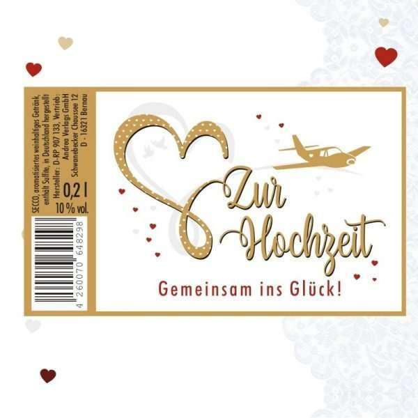 56044 Piccolo mit Blattgold Zur Hochzeit - Gemeinsam ins Glück Etikett AV Andrea Verlag andrea-geschenke.de!