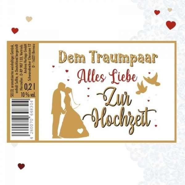 56045 Piccolo mit Blattgold Dem Traumpaar alles Liebe Etikett AV Andrea Verlag andrea-geschenke.de!