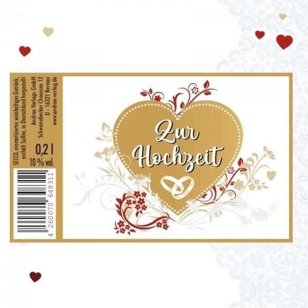 56046 Piccolo mit Blattgold Zur Hochzeit Etikett AV Andrea Verlag andrea-geschenke.de!