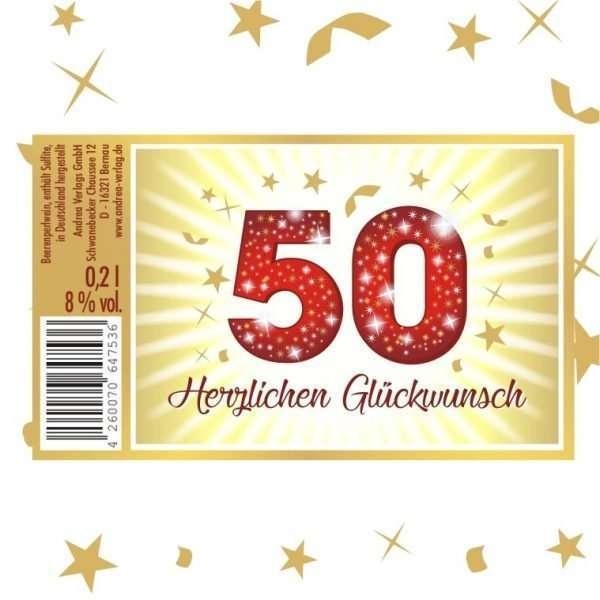 57025 Piccolo Herzlichen Glückwunsch 50 Etikett AV Andrea Verlag andrea-geschenke.de!