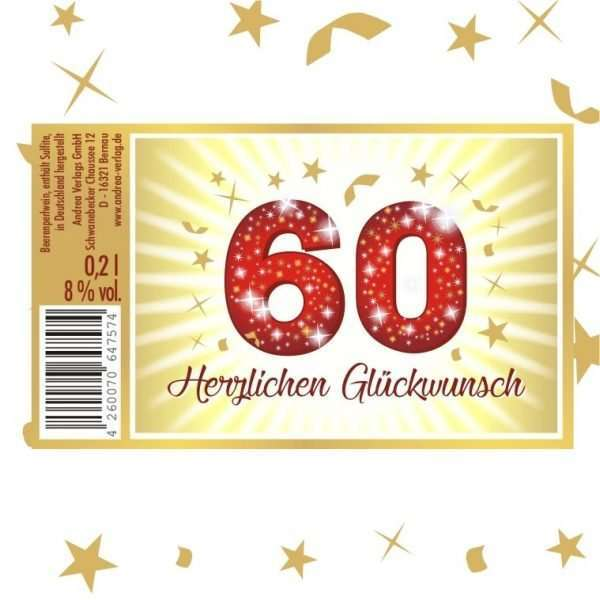 57026 Piccolo Herzlichen Glückwunsch 60 Etikett AV Andrea Verlag andrea-geschenke.de!