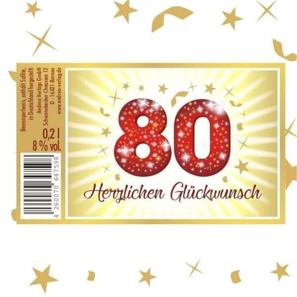 57028 Piccolo Herzlichen Glückwunsch 80 Etikett AV Andrea Verlag andrea-geschenke.de!