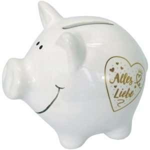 60096 Sparschwein 10cm groß und weiß: Alles Liebe, Schrift in Gold aus Keramik Hochglanz Optik Sparbüchse als Geldgeschenk Hochzeitsgeschenk zur Hochzeit