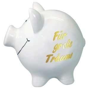 60097 XXL Sparschwein 19cm groß und weiß: Für große Träume, Schrift in Gold aus Keramik Hochglanz Optik Sparbüchse als Geldgeschenk Hochzeitsgeschenk zur Hochzeit