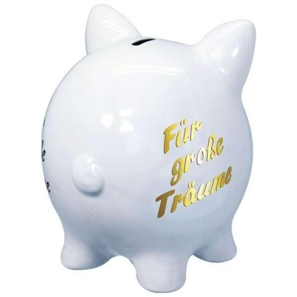 60097 XXL Sparschwein 19cm groß und weiß: Für große Träume, Schrift in Gold aus Keramik Hochglanz Optik Sparbüchse als Geldgeschenk Hochzeitsgeschenk zur Hochzeit von hinten