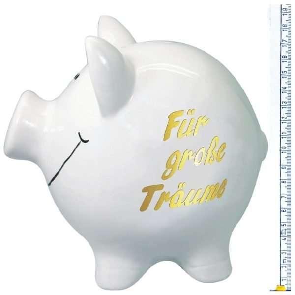 60097 XXL Sparschwein 19cm groß und weiß: Für große Träume, Schrift in Gold aus Keramik Hochglanz Optik Sparbüchse als Geldgeschenk Hochzeitsgeschenk zur Hochzeit mit Skala