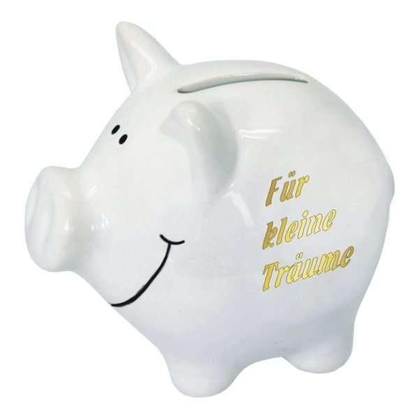 60098 Sparschwein 10cm groß und weiß: Für kleine Träume, Schrift in Gold aus Keramik Hochglanz Optik Sparbüchse als Geldgeschenk Hochzeitsgeschenk zur Hochzeit