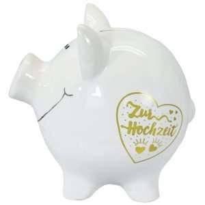 60099 XXL Sparschwein 19cm groß und weiß: Zur Hochzeit, Schrift in Gold aus Keramik Hochglanz Optik Sparbüchse als Geldgeschenk Hochzeitsgeschenk