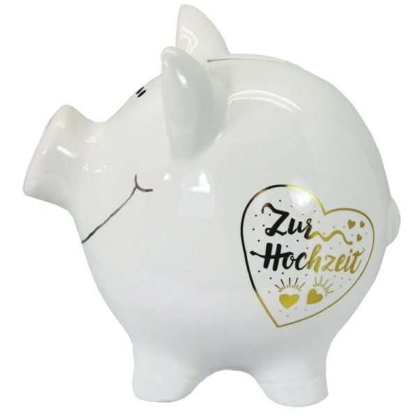 60099 XXL Sparschwein 19cm groß und weiß: Zur Hochzeit, Schrift in Gold aus Keramik Hochglanz Optik Sparbüchse als Geldgeschenk Hochzeitsgeschenk 3