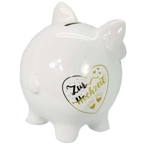 60099 XXL Sparschwein 19cm groß und weiß: Zur Hochzeit, Schrift in Gold aus Keramik Hochglanz Optik Sparbüchse als Geldgeschenk Hochzeitsgeschenk 4
