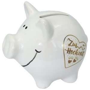 60100 Sparschwein 10cm groß und weiß: Zur Hochzeit, Schrift in Gold aus Keramik Hochglanz Optik Sparbüchse als Geldgeschenk Hochzeitsgeschenk zur Hochzeit