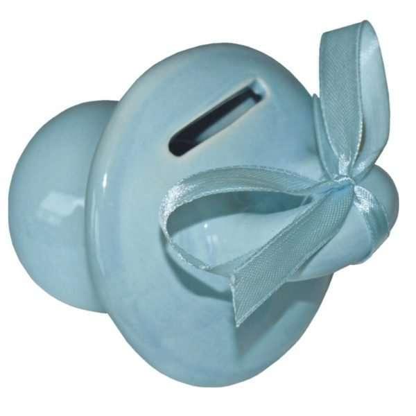 hochwertige Spardose: Schnuller, aus Keramik, Zur Geburt für Jungs in blau mit Satinschleife Sparschwein Sparbüchse als Geldgeschenk Baby niedlicher Nucki